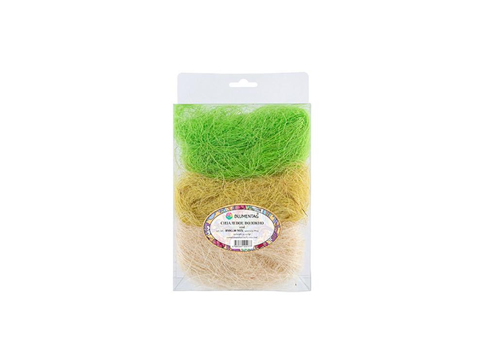 Купить Сизалевое волокно MIX, цвет: 09 белый/желтый/светло-зеленый 30 г, Blumentag, натуральное волокно, BMG-30MIX-09