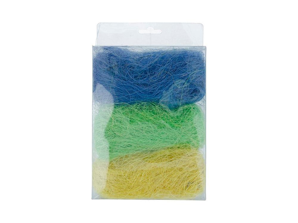 Купить Сизалевое волокно MIX, цвет: 10 светло-желтый/светло-зеленый/синий 30 г, Blumentag, натуральное волокно, BMG-30MIX-10