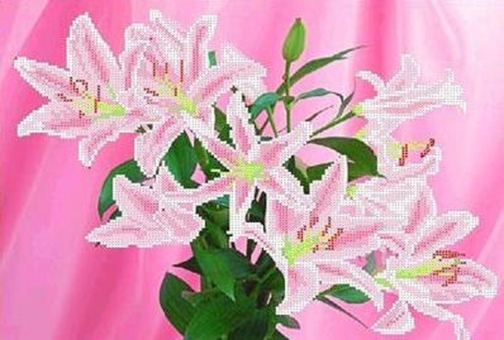Купить Рисунок на ткани «Розовые лилии», Каролинка, 36x26, 5 см, ТКБЦ 3018
