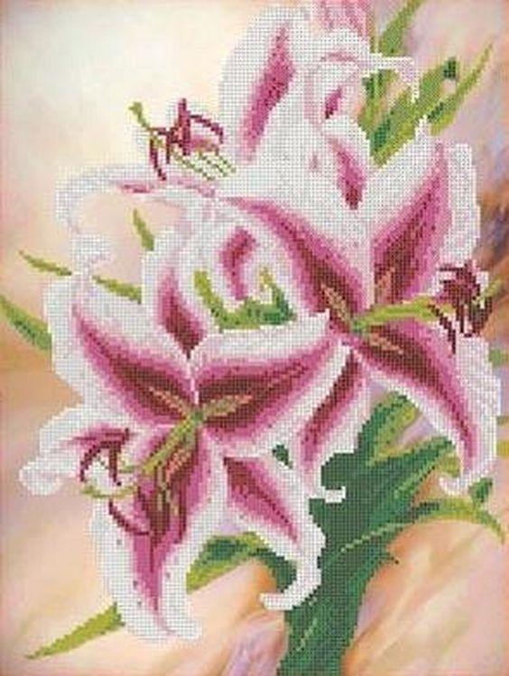 Купить Рисунок на ткани «Лилии», Каролинка, 27, 2x35, 7 см, ТКБЦ 3026