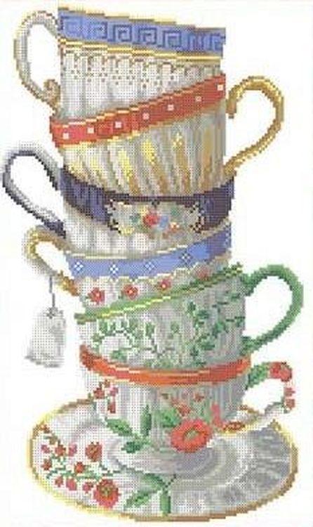 Купить Рисунок на ткани «Шесть чашек», Каролинка, 25x40 см, ТКБЛ 3030