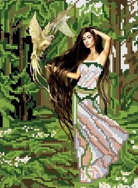 Купить Рисунок на ткани «Лесная фея», Каролинка, 19x25 см, ТКБЛ 4004