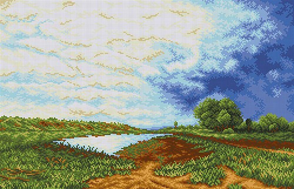 Купить Рисунок на ткани «Мокрый луг», Каролинка, 53, 6x34, 7 см, ТКБП 2006