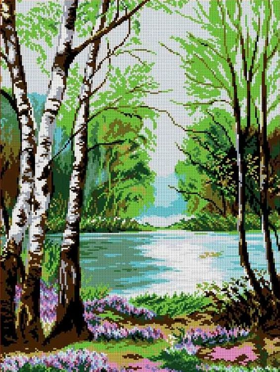 Купить Рисунок на ткани «У реки», Каролинка, 39x54 см, ТКБП 2007