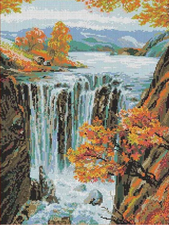 Купить Рисунок на ткани «Водопад», Каролинка, 34, 5x46 см, ТКБП 2009