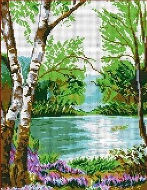 Купить Рисунок на ткани «У реки», Каролинка, 28x35 см, ТКБП 3009
