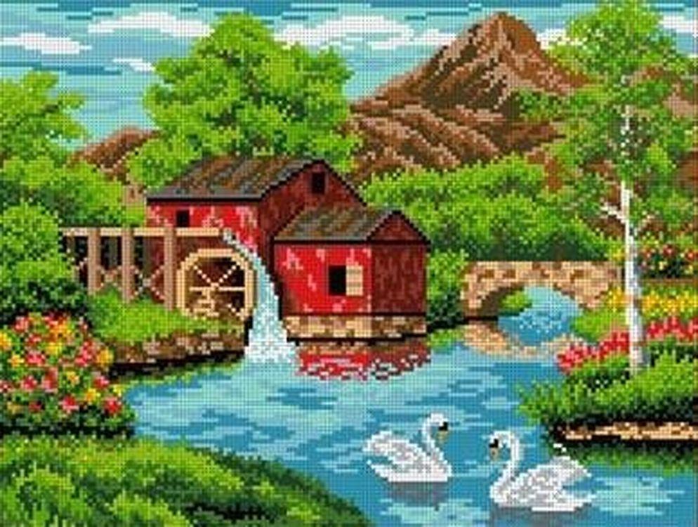 Купить Рисунок на ткани «Старая мельница», Каролинка, 36x27, 5 см, ТКБП 3016