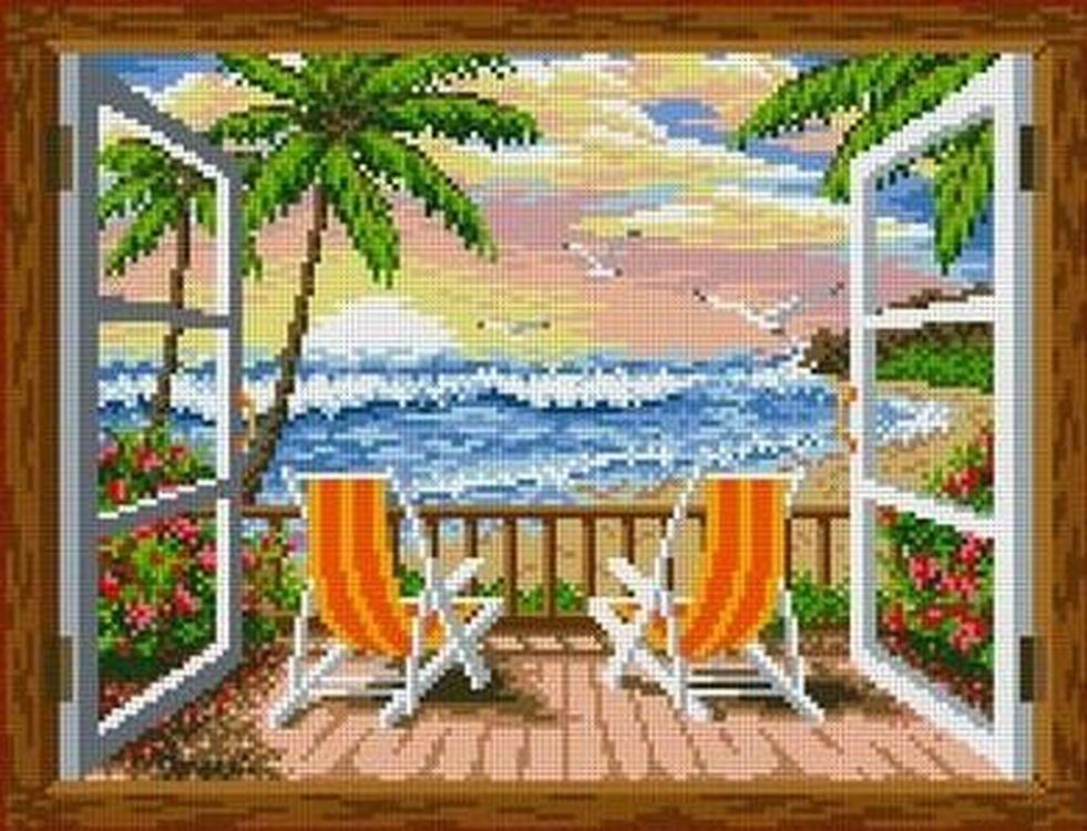 Купить Рисунок на ткани «На берегу», Каролинка, 36x27, 5 см, ТКБП 3022