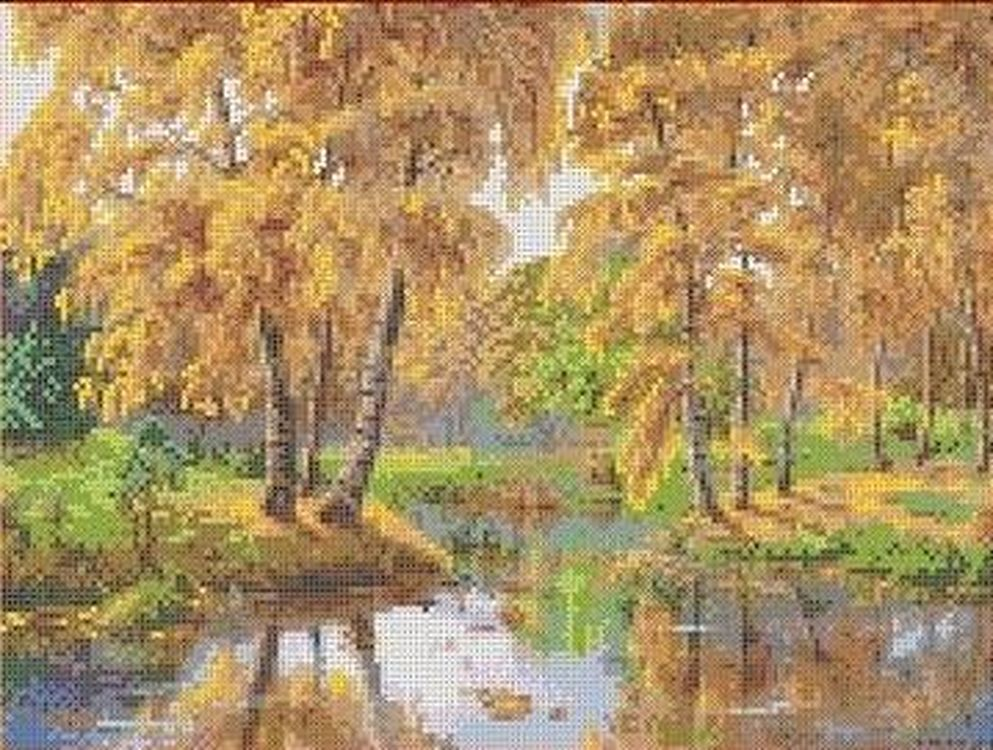 Купить Рисунок на ткани «Осень в отражении», Каролинка, 36x25, 7 см, ТКБП 3027