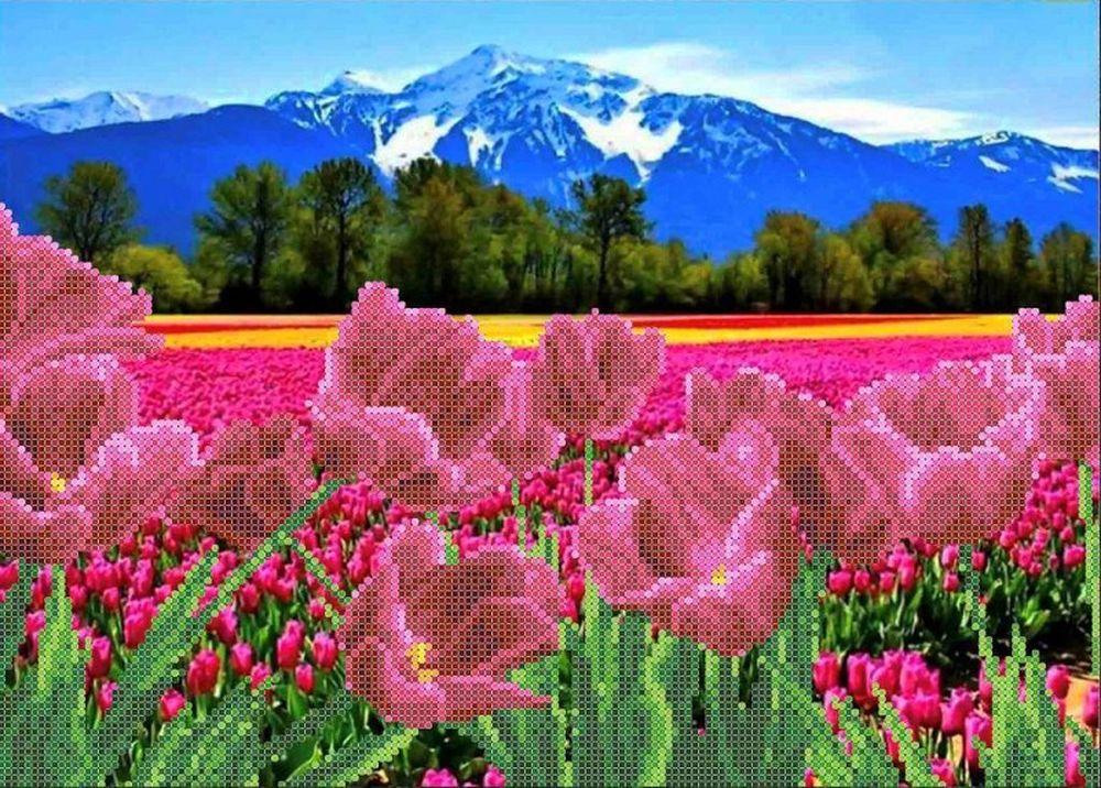 Купить Рисунок на ткани «Тюльпаны у гор», Каролинка, 26x35, 5 см, ТКБП 3054