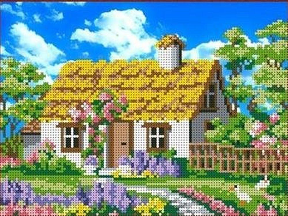 Купить Рисунок на ткани «Утро в деревне», Каролинка, 25x18 см, ТКБП 4002
