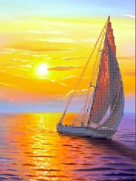 Купить Рисунок на ткани «Парус на закате», Каролинка, 19, 2x25, 6 см, ТКБП 4013/1