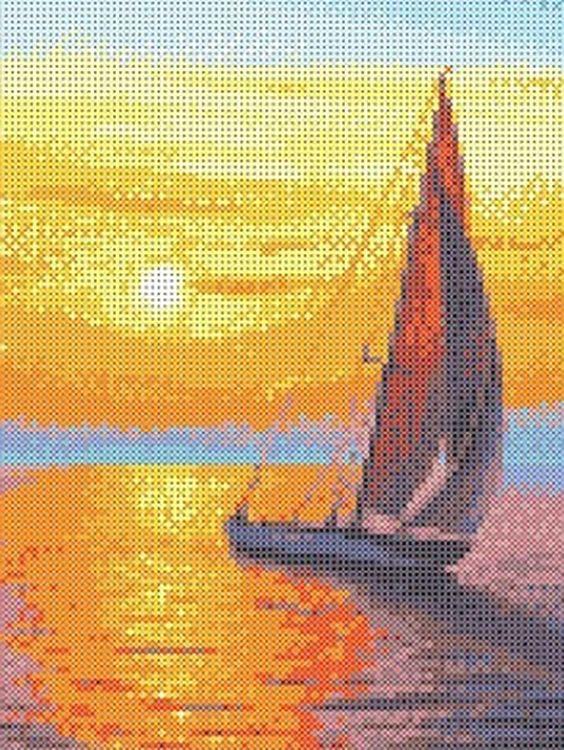 Купить Рисунок на ткани «Парус на закате», Каролинка, 19, 2x25, 6 см, ТКБП 4013