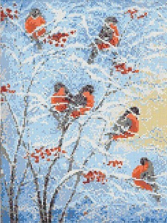 Купить Рисунок на ткани «Снегири», Каролинка, 26, 2x35, 5 см, ТКБЖ 3030