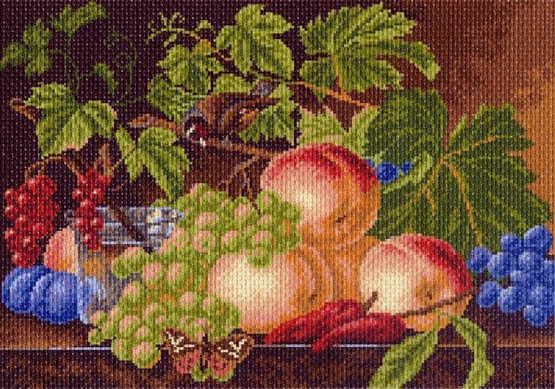 Схема вышивки крестиком натюрморт с виноградом
