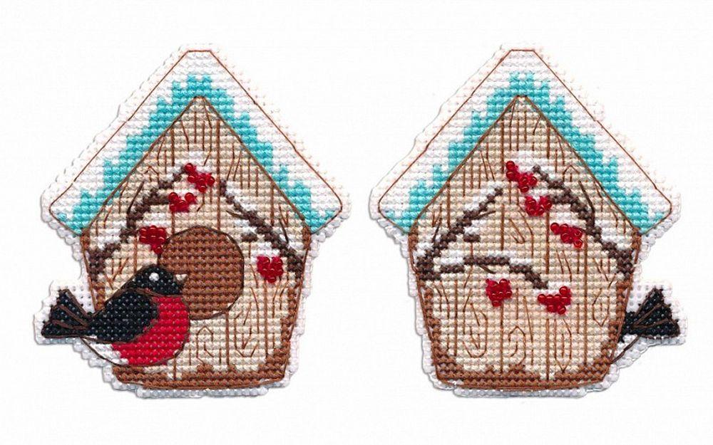 Купить Вышивка крестом, Набор для вышивания «Скворечник. Елочная игрушка», Овен, 7, 5x8, 4 см, 1245
