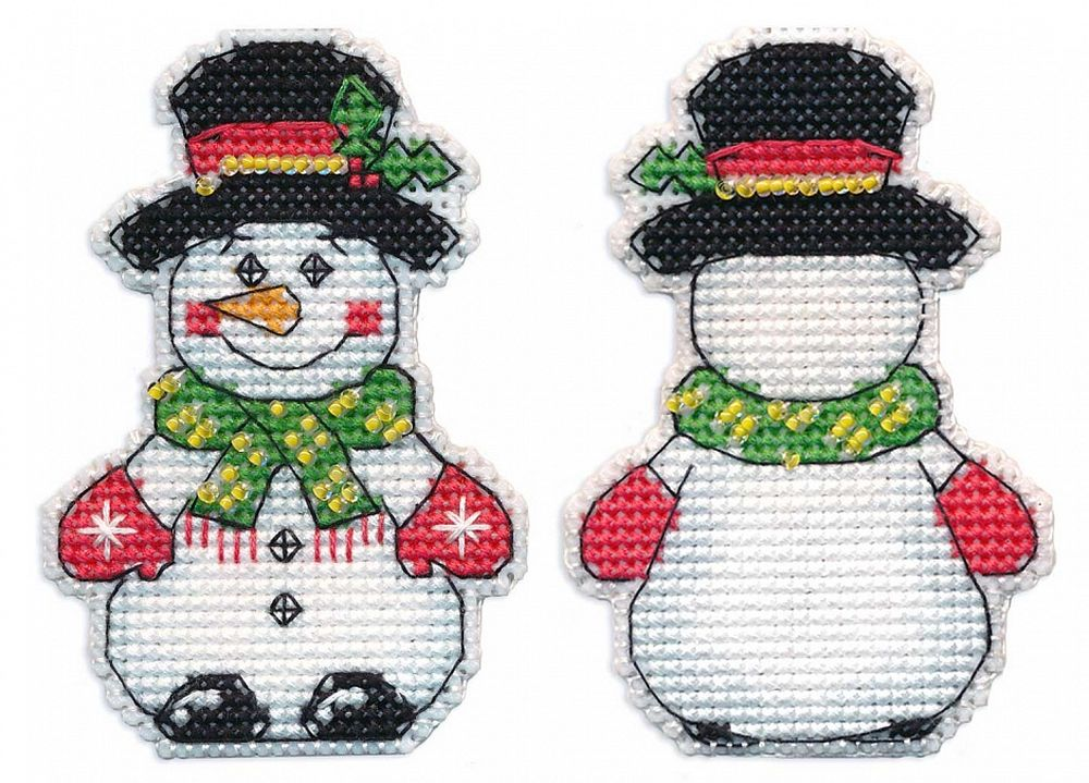 Купить Вышивка крестом, Набор для вышивания «Снеговик. Елочная игрушка», Овен, 5, 5x8 см, 1248