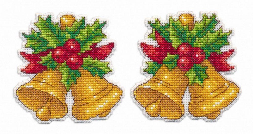 Купить Вышивка крестом, Набор для вышивания «Колокольчики. Елочная игрушка», Овен, 8, 4x8, 4 см, 1252