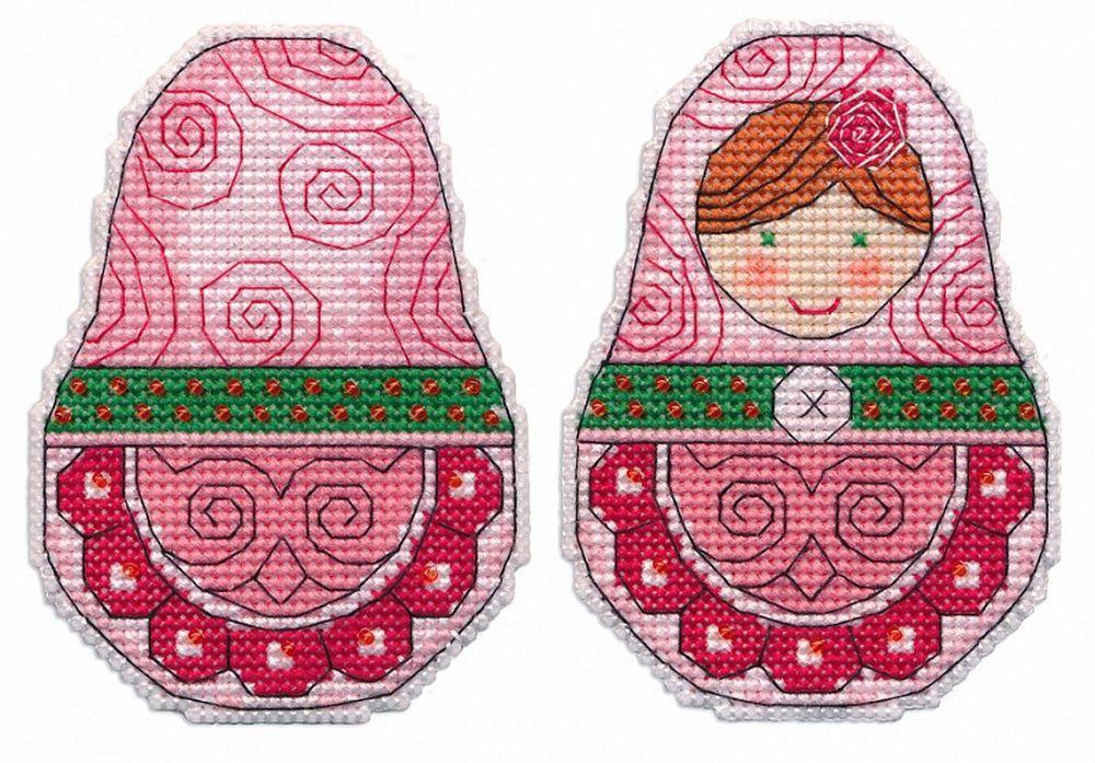 Купить Вышивка крестом, Набор для вышивания «Ёлочная игрушка. Матрешка», Овен, 7x9, 7 см, 1260