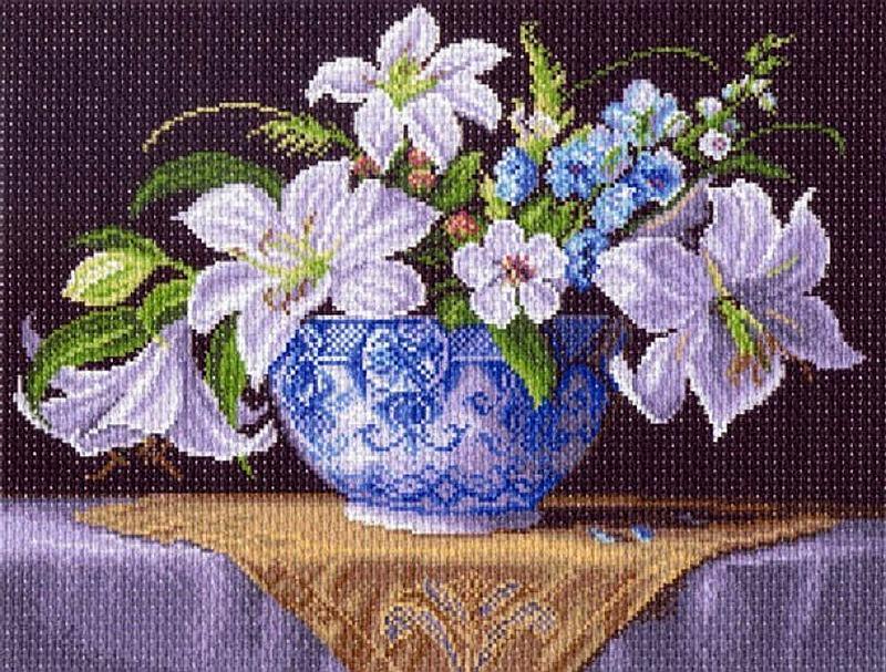 Купить Рисунок на ткани «Белые лилии», Матренин Посад, 37x49 см, 1403