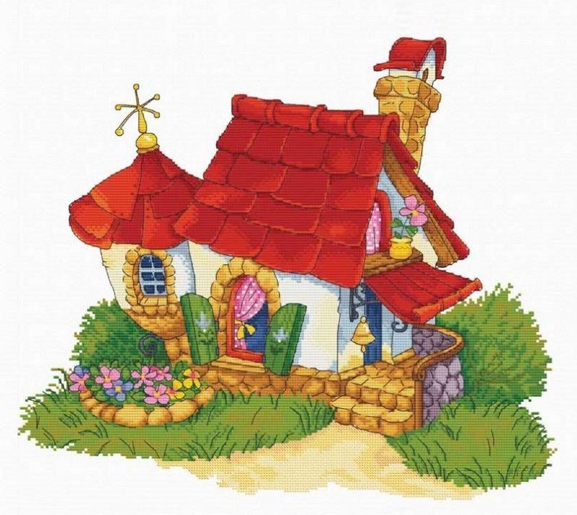 Купить Вышивка крестом, Набор для вышивания «Домик», 50х59 см, 7535-РК
