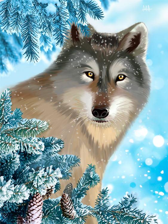Купить Алмазная вышивка «На страже леса», Алмазное Хобби, Россия, 30x40 см, Ah5372