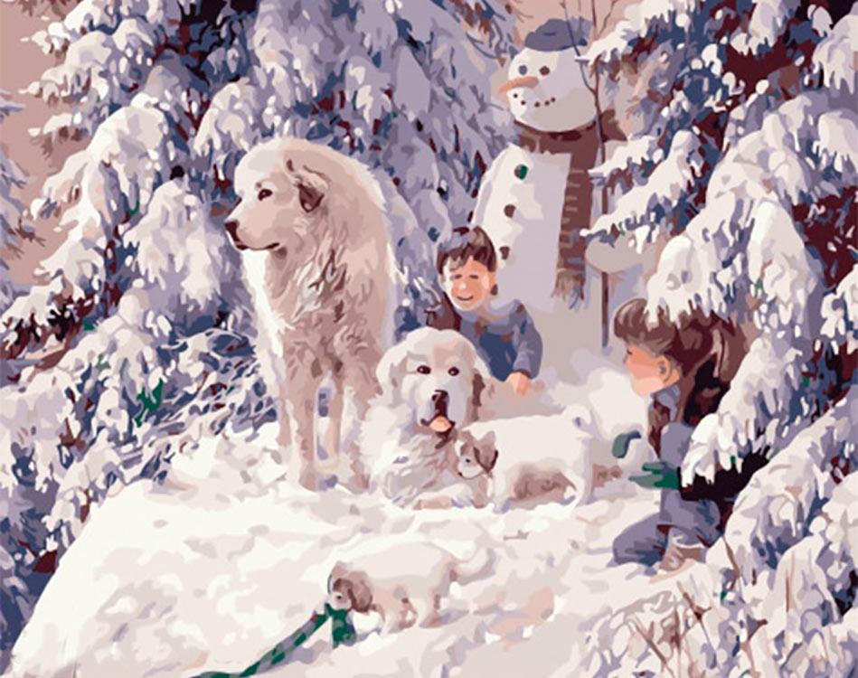 Купить Картина по номерам «Веселое зимнее утро», Paintboy (Premium), Китай, PK41088
