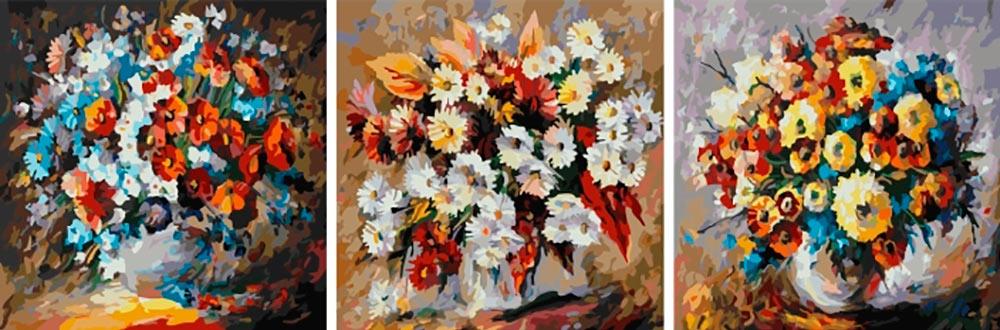 Купить Картина по номерам «Красочные букеты», Paintboy (Premium), Китай, 3 шт. 50x50 см, PX5084