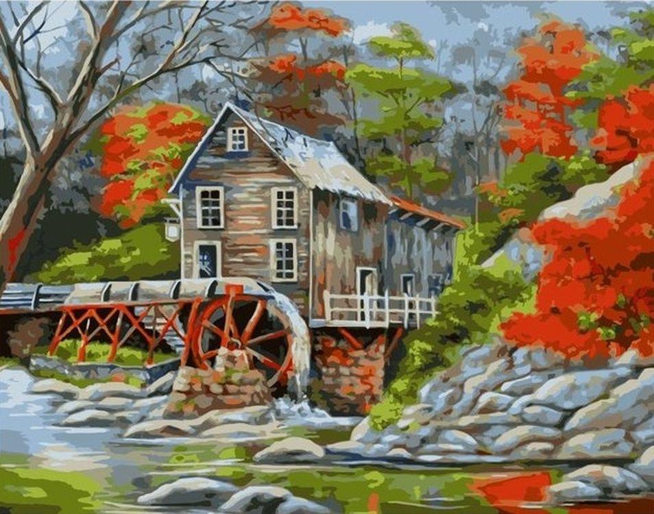 Купить Картина по номерам «Мельница», Paintboy (Premium), 40x50 см, VA-0412