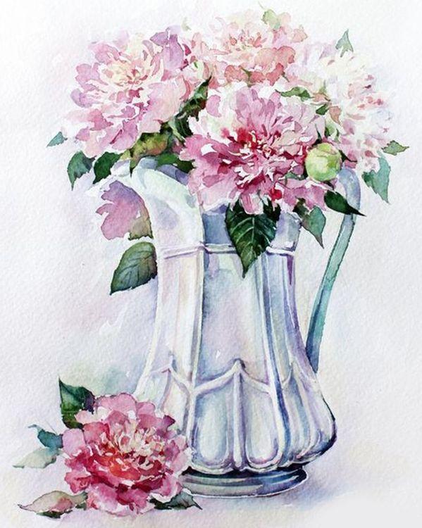 Купить Картина по номерам «Пионы в кувшине», Paintboy (Premium), 40x50 см, VA-0828