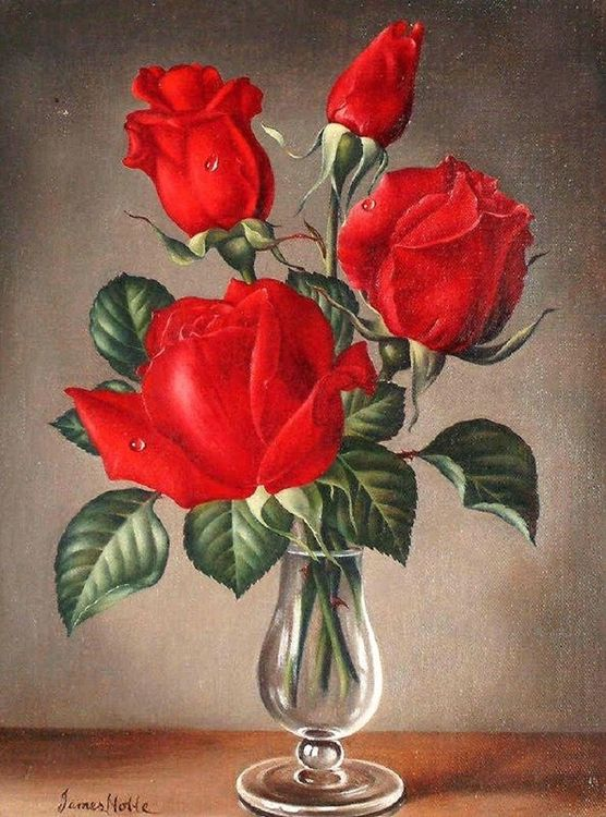 Купить Картина по номерам «Розы в вазе», Paintboy (Premium), 40x50 см, VA-0932