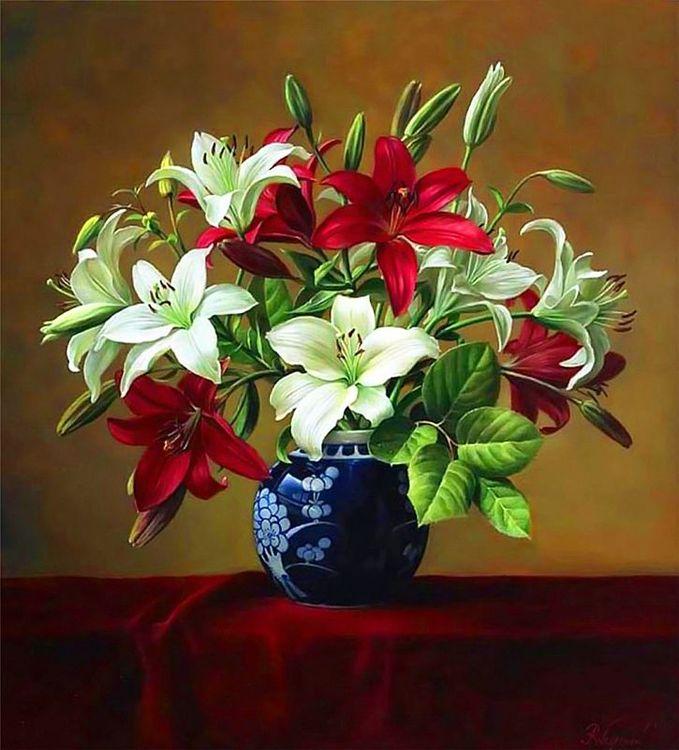 Купить Картина по номерам «Лилии в вазе», Paintboy (Premium), 40x50 см, VA-0934