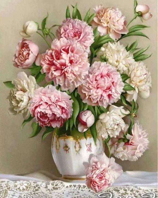 Купить Картина по номерам «Роскошные пионы», Paintboy (Premium), 40x50 см, VA-1245