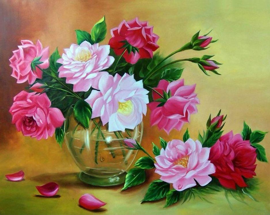 Картина по номерам «Пионы в прозрачной вазе», Paintboy (Premium), 40x50 см, VA-1249  - купить со скидкой