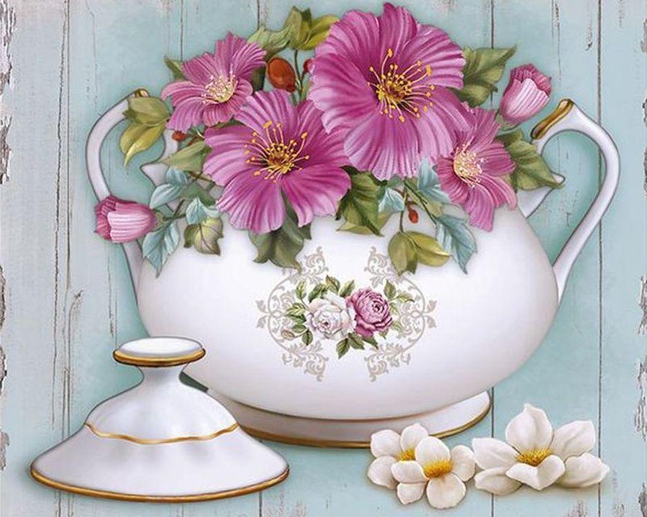 Купить Картина по номерам «Розовые цветы в вазе», Paintboy (Premium), 40x50 см, VA-1333