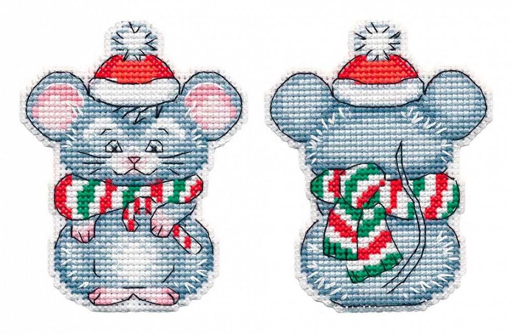 Купить Вышивка крестом, Набор для вышивания «Мышонок. Елочная игрушка», Овен, 7x9 см, 1251