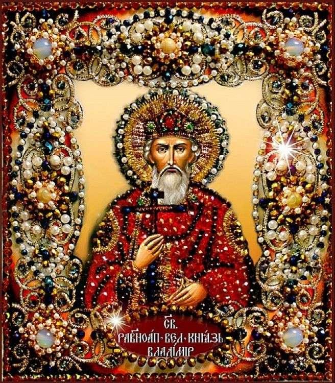 Купить Вышивка Образа в каменьях «Святой Владимир», 14, 5х16, 5 см, Бусины, бисер, агат, жемчуг, трунцал, лунный камень, 77-и-27