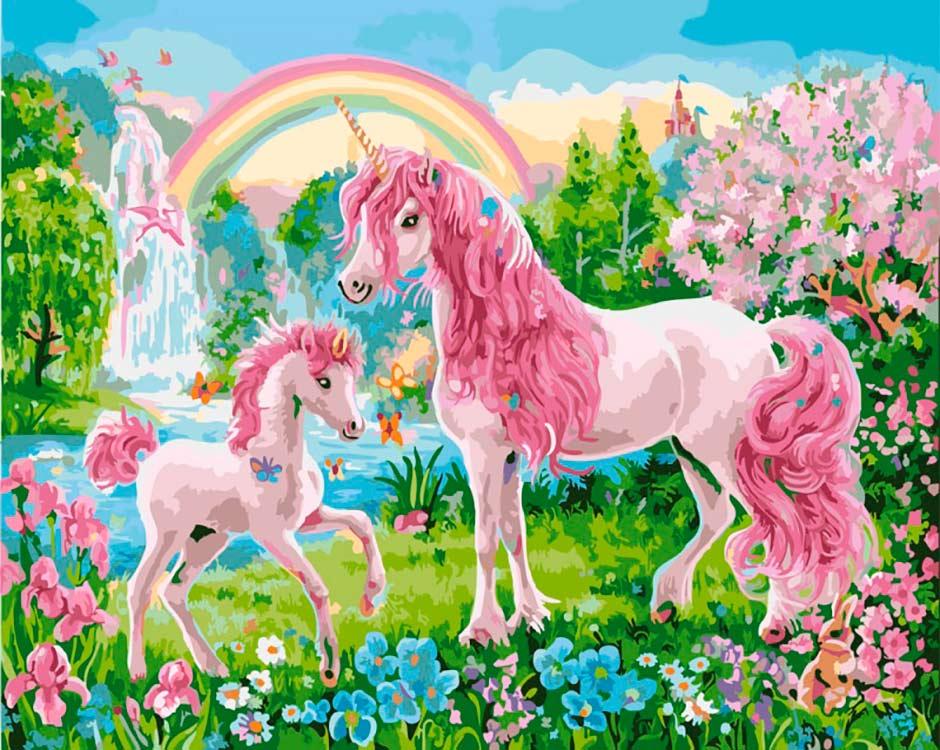 Купить Картина по номерам «Розовые единороги», Paintboy (Premium), Китай, GX28738