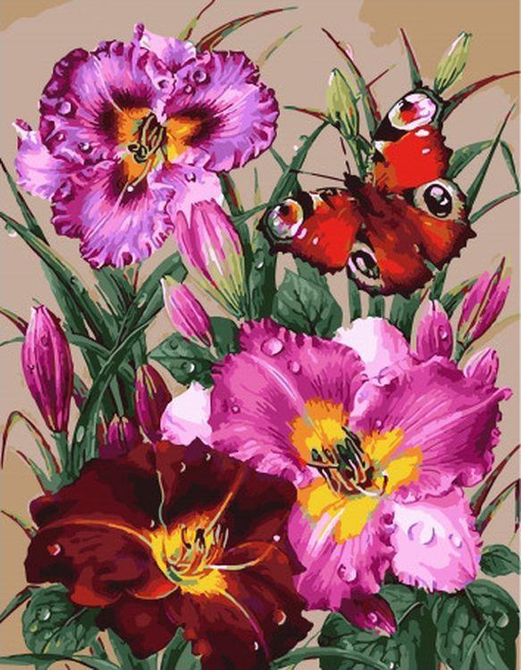 Купить Картина по номерам «Бабочка и лилии», Paintboy (Premium), 40x50 см, GX32036