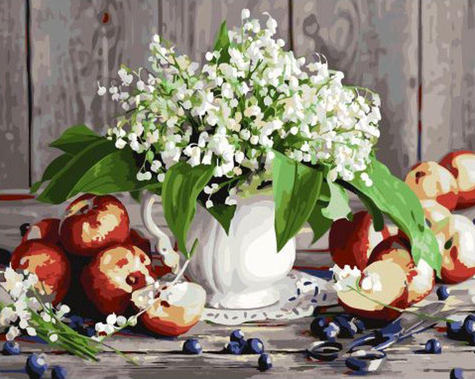 Купить Картина по номерам «Ландыши и яблоки», Paintboy (Premium), 40x50 см, GX32654