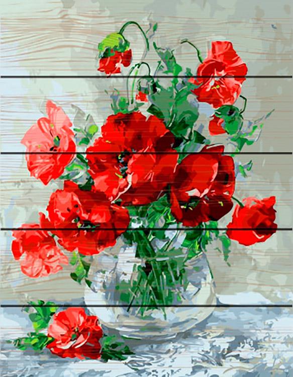 Купить Картина по номерам по дереву Paintboy «Красные маки», Paintboy (Premium), 40x50 см, GXT27387