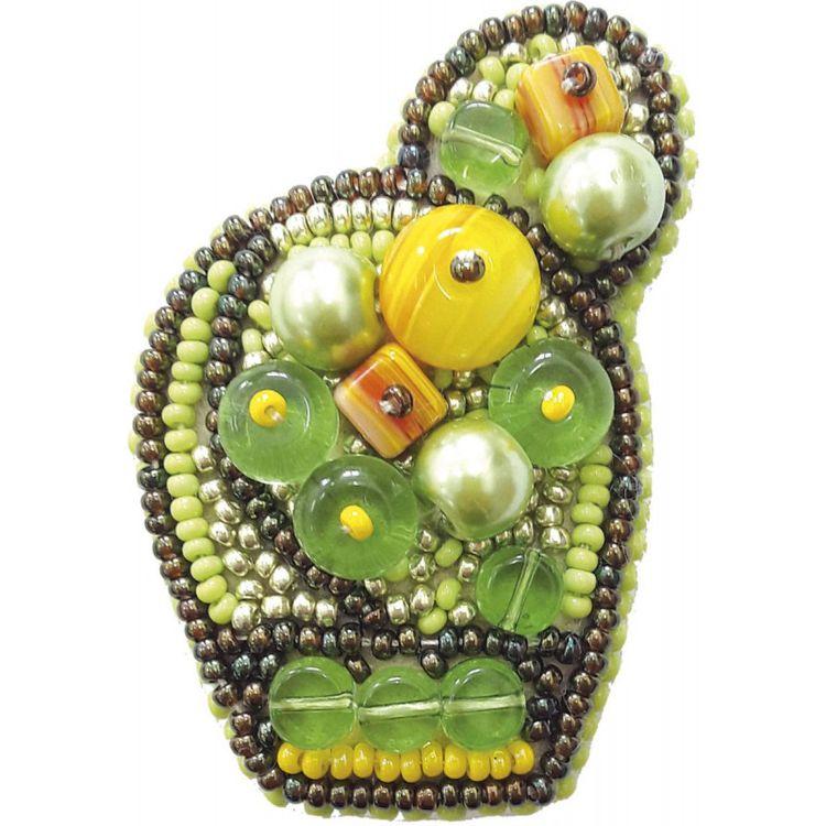 Купить Вышивка бисером, Набор для вышивания «Брошь. Яркий кактус», Crystal Art, 4х6 см, БП187