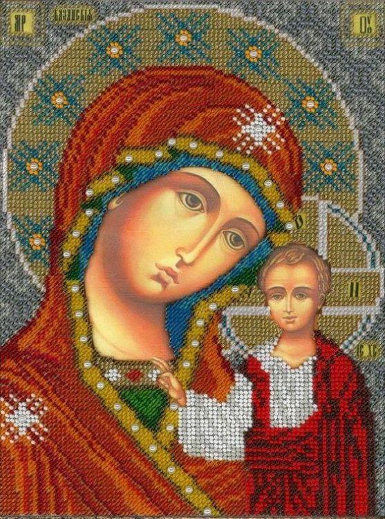 Купить Вышивка бисером, Набор для вышивания «Казанская Богородица», Вышиваем бисером, 19х25 см, L-157