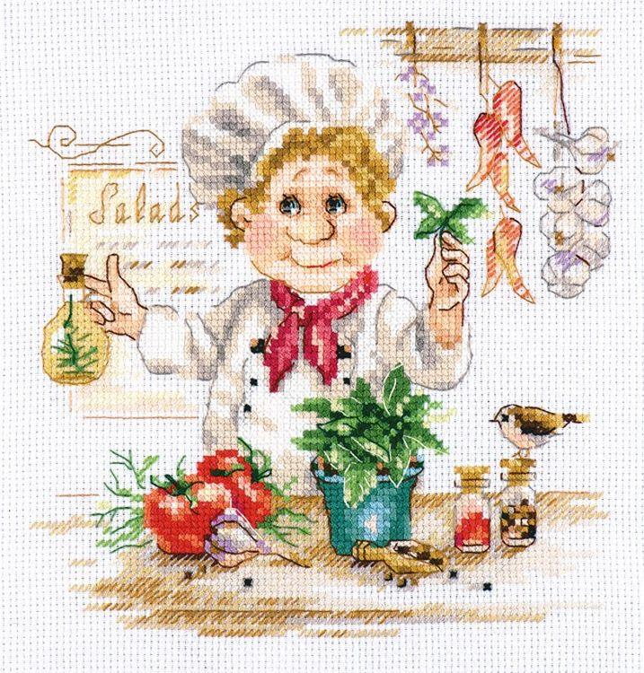 Купить Вышивка крестом, Набор для вышивания «Шеф-повар», Алиса, 16x17 см, 6-11
