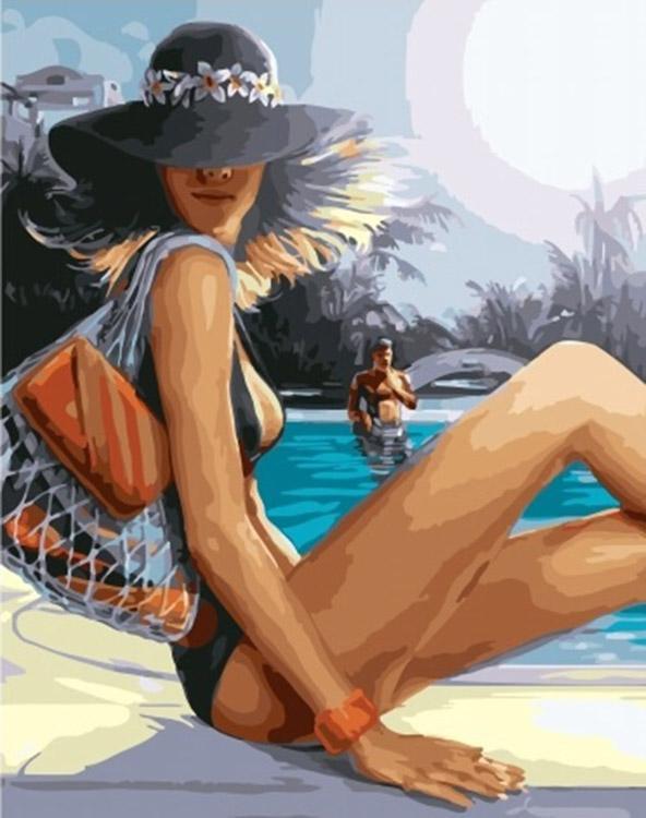 Купить Картина по номерам «Девушка возле бассейна», Paintboy (Premium), GX25569