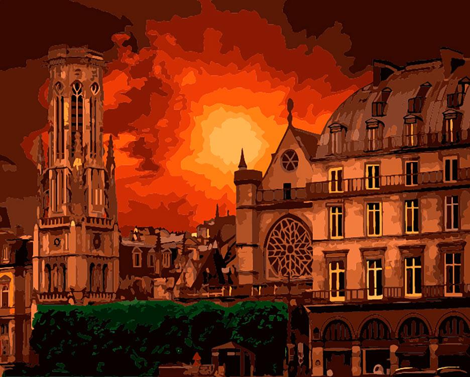 Купить Картина по номерам «Нотр-Дам. Огненный закат», Фрея, PNB/C1 №33