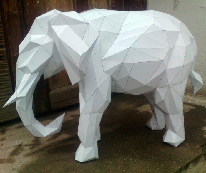 На фото изображено - Модели из бумаги, рис. Модель слон 1