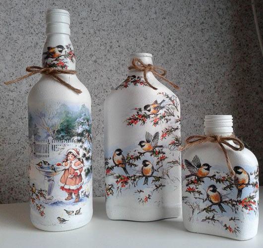 На фото изображено - Декупаж для начинающих, рис. Декупаж бутылки