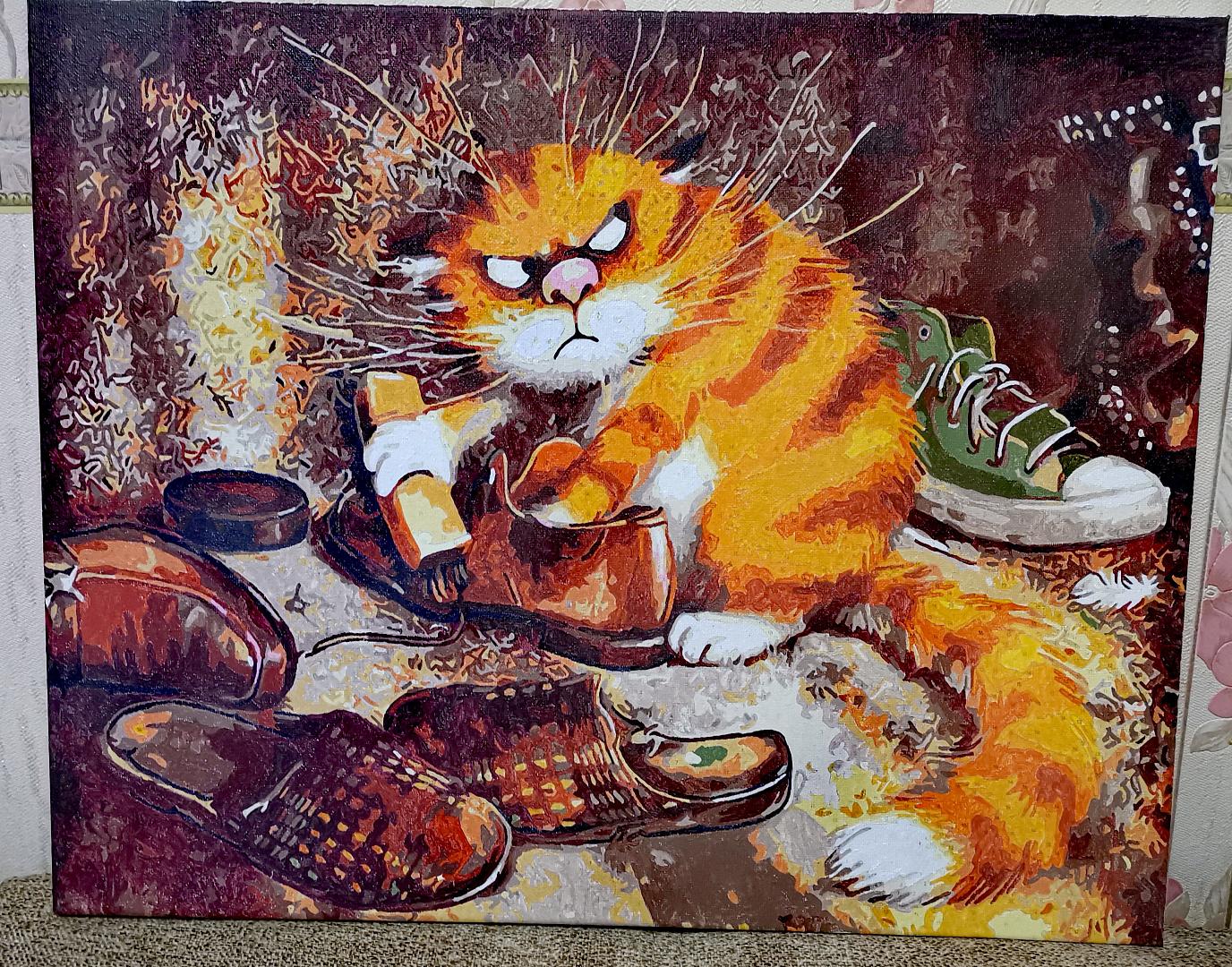 Картина по номерам «Кот чистит ботинки (Очищение)» GX3221 ...